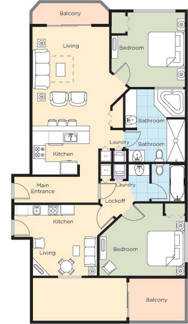 Ocean walk resort floorplans for 2 bedroom hotel suites in daytona beach